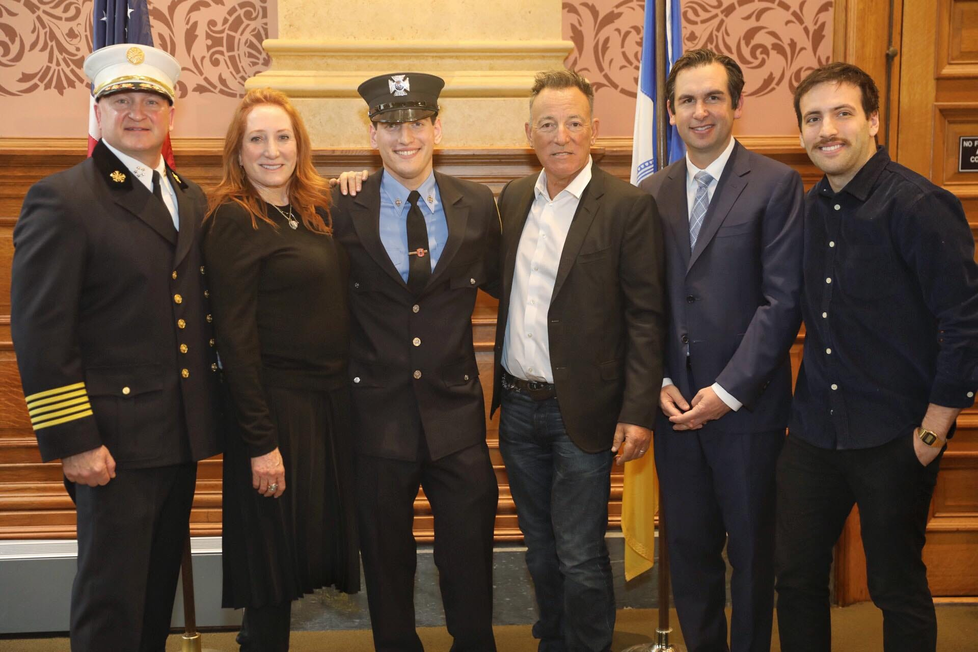 Bruce Springsteen looks on as son Sam becomes a Jersey City firefighter