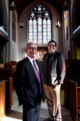 Cliff Stewart (left), the pastor at First Central Presbyterian Church and the Rev. David Romanik, rector at Episcopal Church of the Heavenly Rest, inside Romanik's sanctuary Tuesday. The two men will swap pulpit duties Sunday, delivering their sermons to each other's congregation.