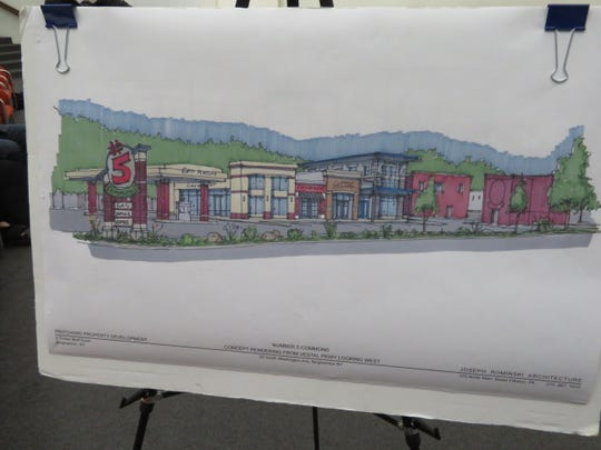 An artist's rendering of the new retail plaza proposed for the Number 5 restaurant parking lot on Binghamton's South Side.