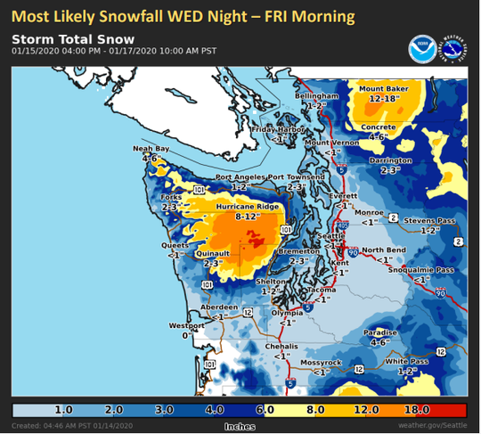 Another storm is expected Wednesday night, though less snow will fall with a potential accumulation of 2 to 3 inches in Bremerton.