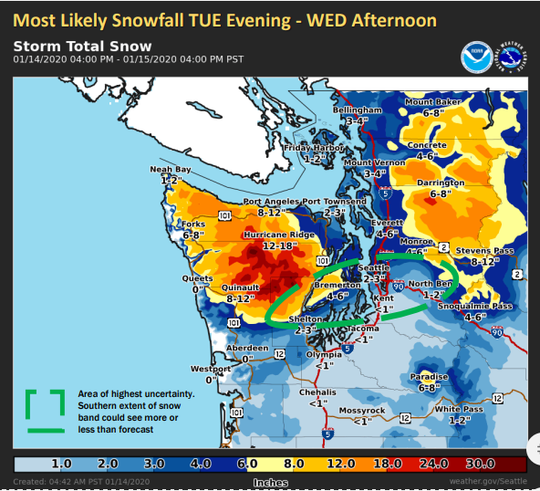 Bremerton could see 4-6 inches of snow Tuesday evening through the night, with higher amounts near Hood Canal, according to the National Weather Service.