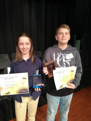 Maddy Martin of St. Bernard Catholic School was the champion of the Crawford County Spelling Bee Jan. 9. Drake Moyer of Crestline Exempted Village Schools was the runner-up.
