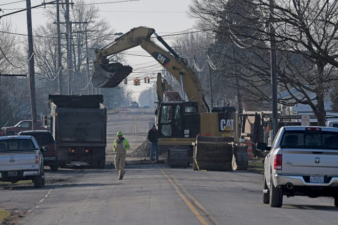Work on Whetstone Street continued to reroute traffic on the southeast side of Bucyrus in this file photo. The project was part of the city's stormwater and sanitary sewer improvements.
