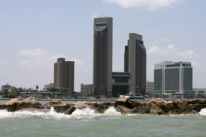One Shoreline Plaza, seen in July 2006, has dominated the Corpus Christi downtown skyline since the building opened in 1988.