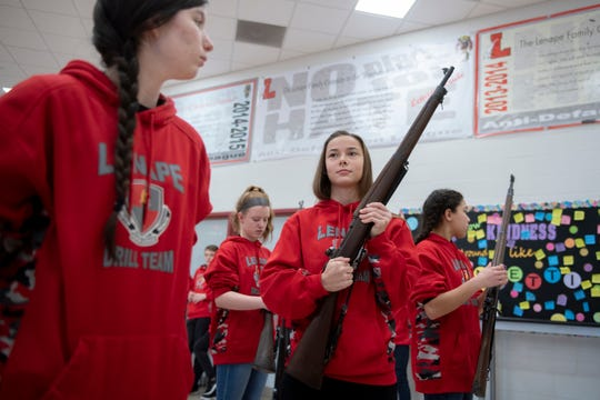 Lt. Col. Samantha Coon leads a competition practice with Lenape's JROTC Thursday, Jan. 9, 2020 in Medford, N.J.