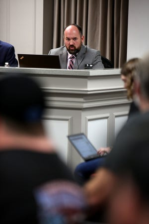 Boone County Commissioner Jesse Brewer, speaks during a meeting at the Boone County Administration building, in Burlington, where a Second Amendment Sanctuary resolution was passed on Tuesday, January 14.