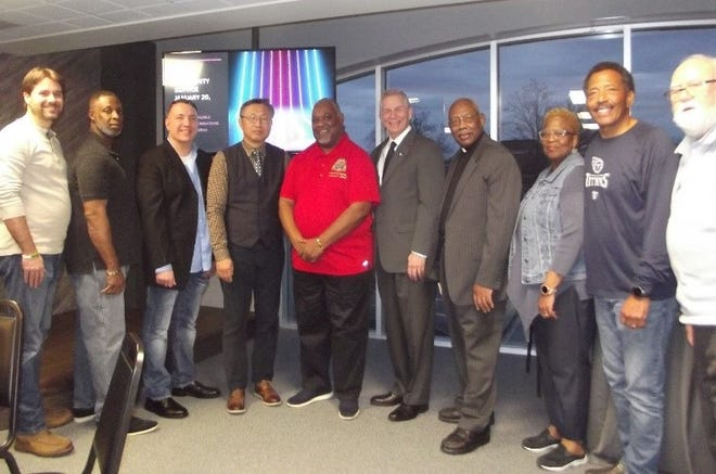 From left to right: the Rev. Will Binkley, the Rev. James Cole, Pastor Gene Garcia, the Rev. Won Chul Lee, Bishop Anthony Alfred, Mayor Joe Pitts, Chaplain Anderson Grant, Elder Velma Williams, Chaplain Mike Williams, and the Rev. Bill Graham