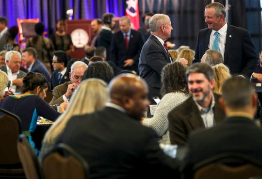 Mayor Durrett greets attendees from the Clarksville Chamber of Commerce at the annual Mayor's Power Breakfast at Wilma Rudolph Event Center in Clarksville, Tenn., on Tuesday, Jan. 14, 2020.