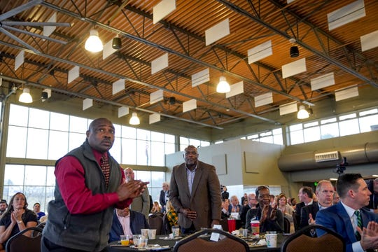 County commissioners stand up at the request of Mayor Durrett for applause at the annual Mayor's Power Breakfast at Wilma Rudolph Event Center in Clarksville, Tenn., on Tuesday, Jan. 14, 2020.