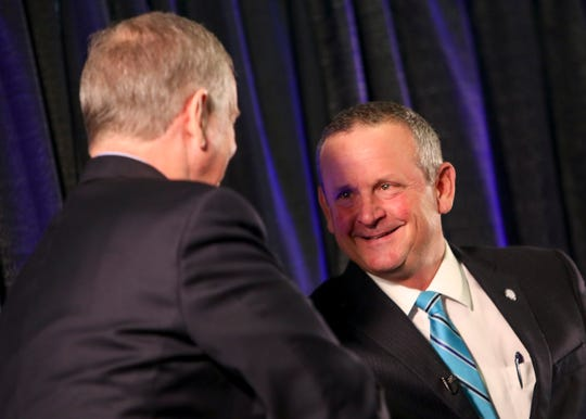 Montgomery County Mayor Jim Durrett shakes the hand and thanks Clarksville Mayor Joe Pitts at the annual Mayor's Power Breakfast at Wilma Rudolph Event Center in Clarksville, Tenn., on Tuesday, Jan. 14, 2020.