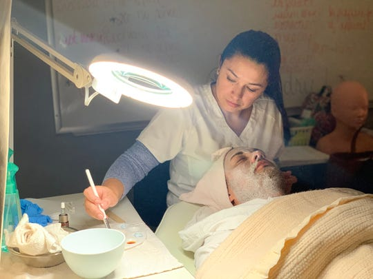 Ana Villatoro-Bautista, a student in Hunterdon County Vocational School District's Adult & Continuing Education Aesthetics Program, works in the district's Skin Deep Spa.