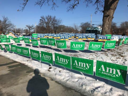 "Signs for Amy Klobuchar and Pete Buttigieg surround the ""free speech zone"" near the CNN/Des Moines Register Democratic debate site at Drake University."
