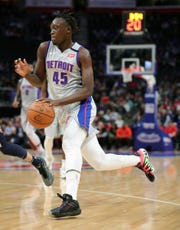 Detroit Pistons forward Sekou Doumbouya drives during the second period against the New Orleans Pelicans at Little Caesars Arena, Monday, Jan. 13, 2020.
