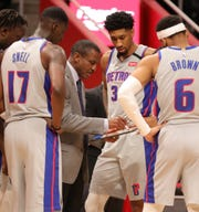 Dwane Casey draws up a play during the Pistons' 117-110 overtime loss to the Pelicans on Jan. 13, 2020, at Little Caesars Arena.