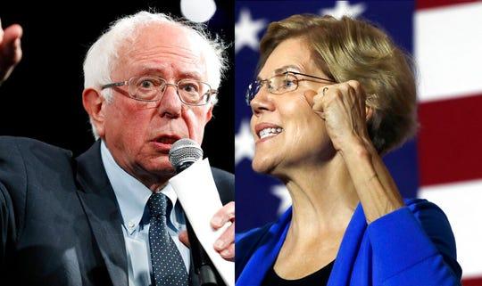Democratic presidential candidates Sen. Bernie Sanders, left, and Sen. Elizabeth Warren.