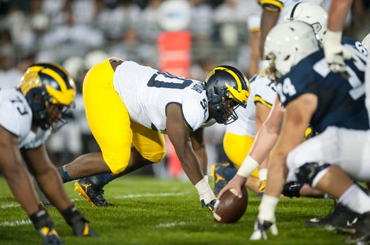 Michigan defensive tackle Michael Dwumfour appeared in his 33 games for the Wolverines, with four career starts.