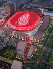 A January 2016 rendering of the Little Caesars Arena development plan touted by the Ilitch group shows that Woodward Ave. and Henry Street area filled with a row of retail and other new buildings.