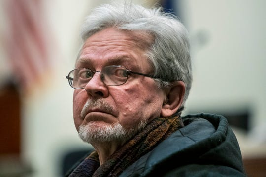 James Chance, father of Jared Chance, who killed and dismembered Ashley Young, waits to leave the courtroom after the verdict at the Kent County Courthouse in Grand Rapids on Monday, Jan. 13, 2020.