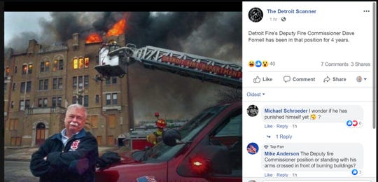 A social media post on the page The Detroit Scanner claimed the photo above shows Detroit Deputy Fire Commissioner Dave Fornell in front of a burning building