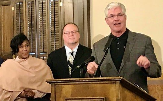 Senate Majority Leader Mike Shirkey, R-Clarklake, speaks at a press conference unveiling recommendations from the Michigan Joint Task Force on  Jail and Pretrial Incarceration on Tuesday, Jan. 14, 2020.