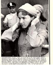 Sandra Good, a disciple of mass murderer Charles Mason, arrived at the Federal Court in Sacramento.