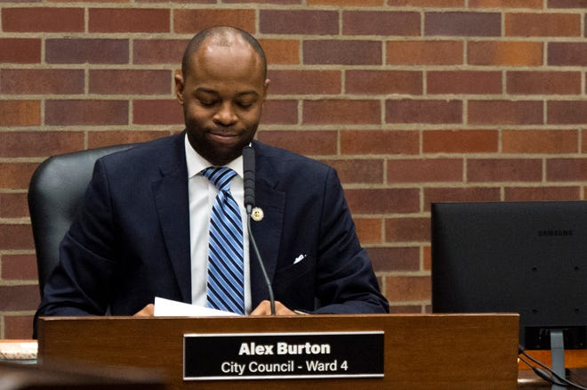 City Councilor Alex Burton smiles after being elected president of the panel for 2020 in a 6-3 decision Monday evening, Jan. 13, 2020.