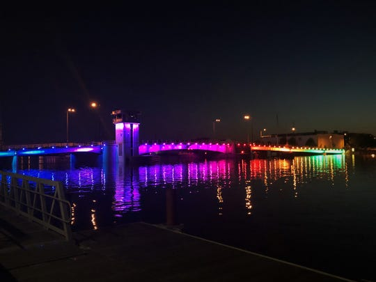 The Walnut Street bridge was lit up with rainbow lights in June to celebrate LGBTQ pride.