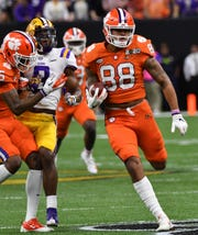No. 3 Clemson faced No. 1 LSU in the College Football Playoff National Championship, Monday, Jan. 13, 2020, at the Mercedes-Benz Superdome in New Orleans. Clemson's Braden Galloway (88) breaks free up field on a play.