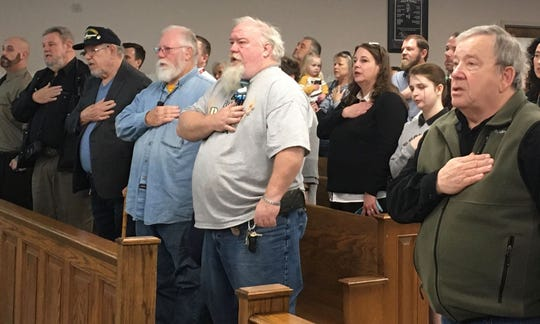 A crowd of Second Amendment supporters attended a Fiscal Court meeting Tuesday, Jan. 14, 2020, in Henderson County. Each court session begins with an invocation and the Pledge of Allegiance.