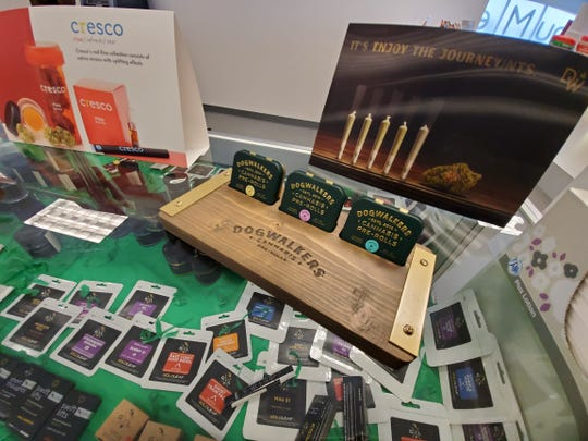 A look at some of the products available for purchase at NuMed Urbana, one of the many medical marijuana dispensaries that began selling legal recreational marijuana in Illinois at the start of 2020.