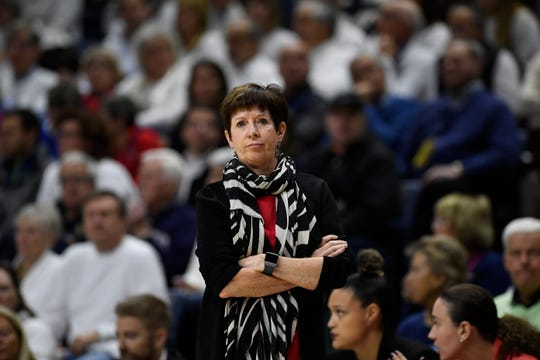 Notre Dame head coach Muffet McGraw in the first half of an NCAA college basketball game, Monday, Dec. 9, 2019, in Storrs, Conn.