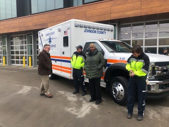 Board of Supervisors Rod Sullivan and Royceann Porter stand next to the newest Johnson County Ambulance Service truck with paramedic Cory Bonnett and paramedic director Fiona Johnson at their headquarters Jan. 14, 2020, in Iowa City.
