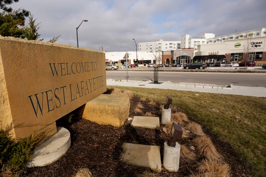 """A """"Welcome to West Lafayette"""" sign stands on State Street, Tuesday, Jan. 14, 2020 in downtown West Lafayette."""