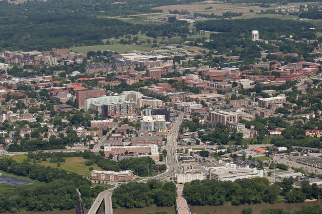 An aerial view of downtown West Lafayette, Tuesday, June 11, 2019 in West Lafayette.