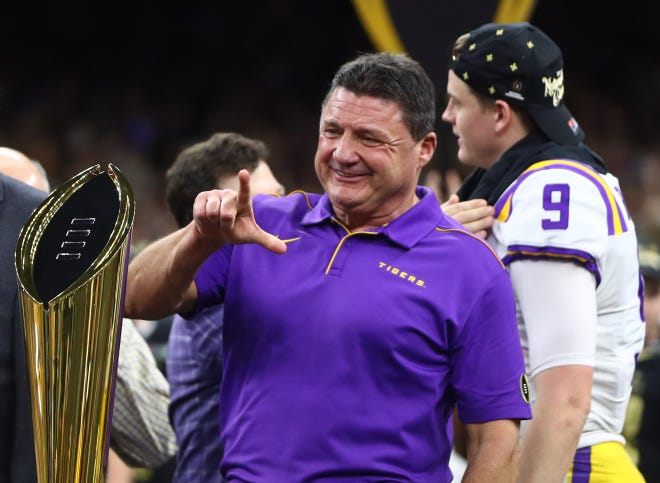 Jan 13, 2020; New Orleans, Louisiana, USA; LSU Tigers head coach Ed Orgeron celebrates after defeating the Clemson Tigers in the College Football Playoff national championship game at Mercedes-Benz Superdome. Mandatory Credit: Mark J. Rebilas-USA TODAY Sports