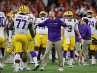Jan 13, 2020; New Orleans, Louisiana, USA; LSU Tigers passing game coordinator Joe Brady talks to his team before the College Football Playoff national championship game against the Clemson Tigers at Mercedes-Benz Superdome. Mandatory Credit: Derick E. Hingle-USA TODAY Sports