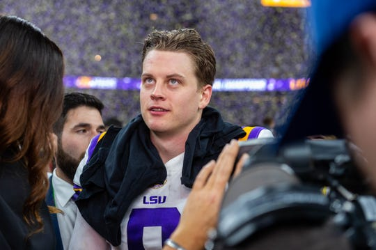 LSU Quarterback Joe Burrow after winning the The LSU Tigers take on The Clemson Tigers in the 2020 College Football Playoff National Championship. Monday, Jan. 13, 2020.