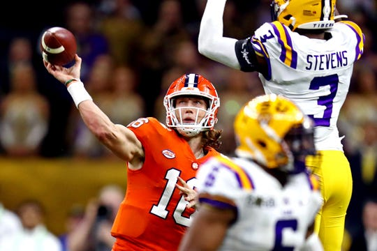 Jan 13, 2020; New Orleans, Louisiana, USA; Clemson Tigers quarterback Trevor Lawrence (16) throws a pass against LSU Tigers safety JaCoby Stevens (3) during the third quarter in the College Football Playoff national championship game at Mercedes-Benz Superdome. Mandatory Credit: Matthew Emmons-USA TODAY Sports