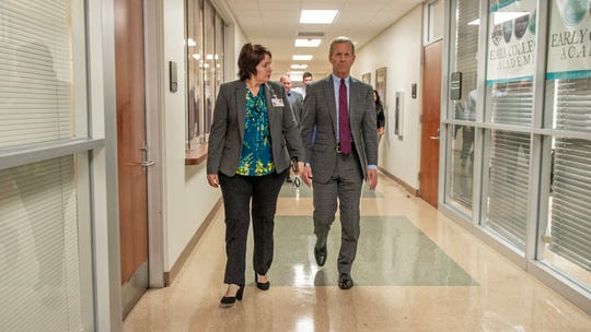 Lafayette Parish interim Superintendent Irma Trosclair and U.S. Assistant Secretary of Education Frank Brogan visit Early College Academy on the South Louisiana Community College campus Tuesday, Jan. 14, 2020.