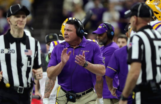 Jan 13, 2020; New Orleans, Louisiana, USA; LSU Tigers head coach Ed Orgeron reacts in the first quarter against the Clemson Tigers in the College Football Playoff national championship game at Mercedes-Benz Superdome. Mandatory Credit: Derick E. Hingle-USA TODAY Sports