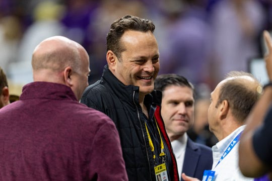 Actor Vince Vaughn on the sidelines as The LSU Tigers take on The Clemson Tigers in the 2020 College Football Playoff National Championship.  Monday, Jan. 13, 2020.