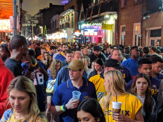 LSU fans packed New Orleans' French Quarter after the Tigers' 42-25 national championship victory of Clemson.