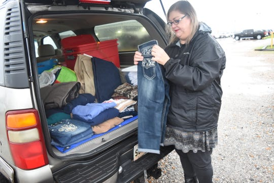 Elisabeth Grant-Gibson brings clothing and other items for people detained at the ICE River Detention Center in Ferriday. Individuals, church groups, and even schools in some of rural Louisiana and Mississippi communities where these detention centers are located have organized to provide support to people detained in these facilities and those being released.