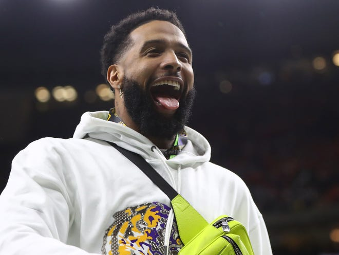 Jan 13, 2020; New Orleans, Louisiana, USA; LSU Tigers former player Odell Beckham, Jr. in attendance before the College Football Playoff national championship game against the Clemson Tigers at Mercedes-Benz Superdome. Mandatory Credit: Mark J. Rebilas-USA TODAY Sports
