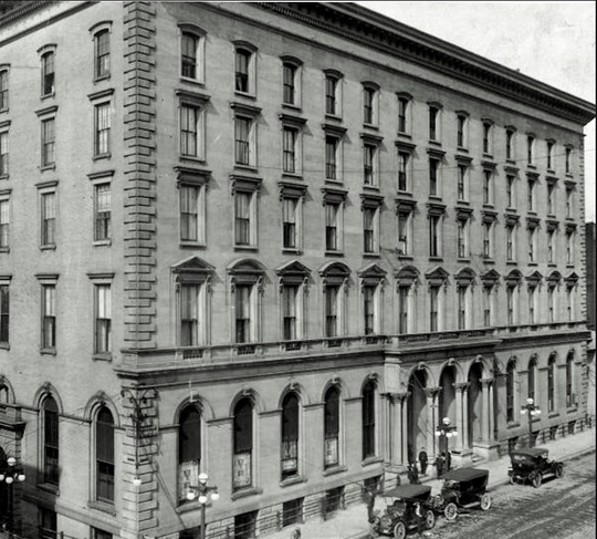 Galt House 1901.  This is the second Galt House Hotel.  It opened in 1869 at 1st and Main Street after the original Galt House (2nd and Main Street) burned down in 1865.