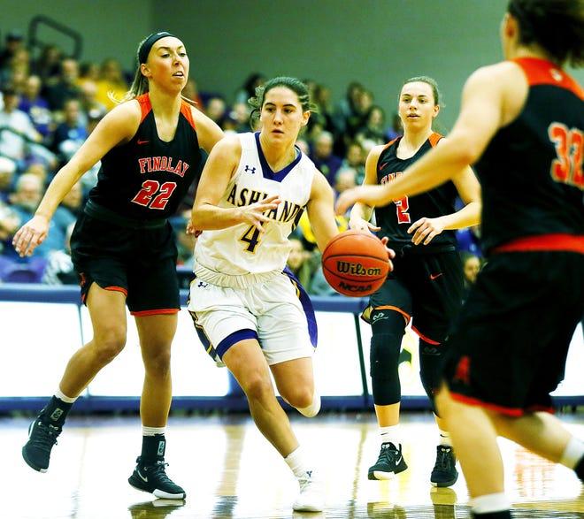 Ashland University's Renee Stimpert (4) drives the ball past the University of Findlay's Lauren Ruth (22) on Thursday, November 14, 2019.