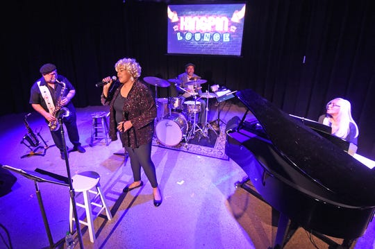 "The cast of ""At Last: An Evening with Etta James"" rehearses Monday night."