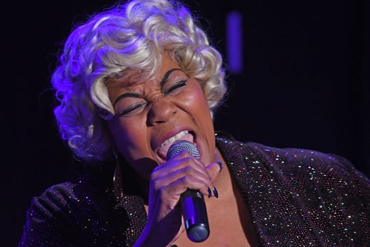 "Condrea Webber performs as Etta James during rehearsal for ""At Last: An Evening with Etta James"" at Theatre 166."
