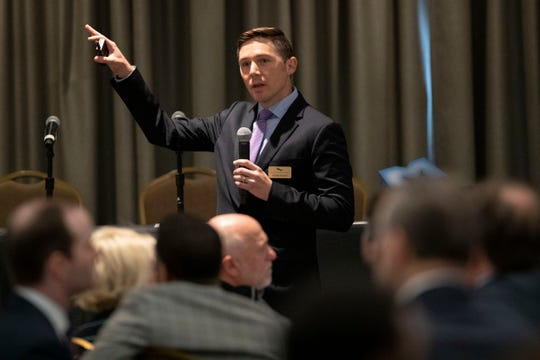 Charles S. Gascon, regional economist and senior coordinator with the Federal Reserve of St. Louis, delivers the keynote address Tuesday, Jan. 14, 2020, during the Greater Memphis Chamber's State of the Greater Memphis Economy presentation at the Memphis Botanic Garden.