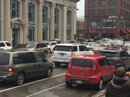 Traffic downtown around 4 p.m., hours before President Donald Trump's rally is scheduled to begin Jan. 14, 2020.